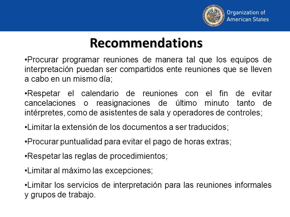 Recommendations Procurar programar reuniones de manera tal que los equipos de interpretación puedan ser compartidos ente reuniones que se lleven a cab