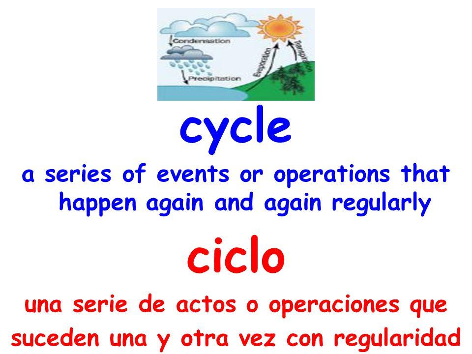 cycle a series of events or operations that happen again and again regularly ciclo una serie de actos o operaciones que suceden una y otra vez con regularidad