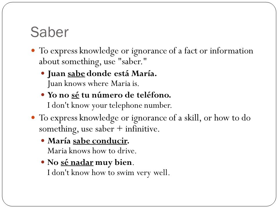 Saber To express knowledge or ignorance of a fact or information about something, use