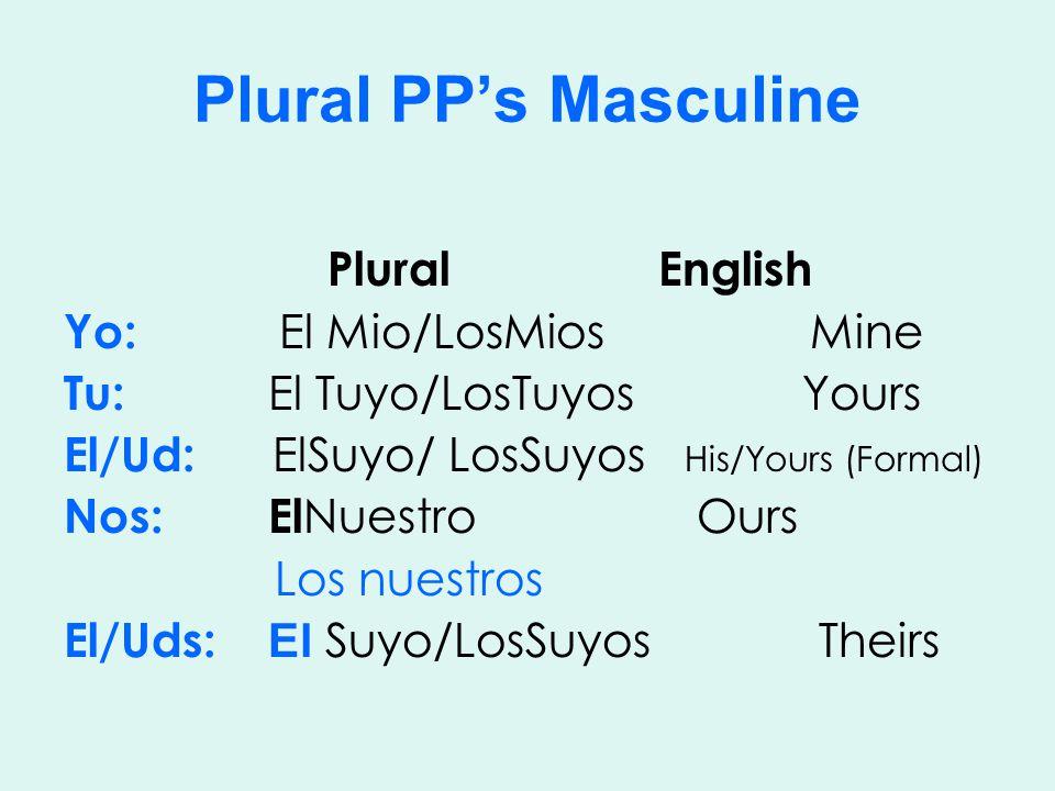 Plural PP's Masculine Plural English Yo: El Mio/LosMios Mine Tu: El Tuyo/LosTuyos Yours El/Ud: ElSuyo/ LosSuyos His/Yours (Formal) Nos: El Nuestro Ours Los nuestros El/Uds: El Suyo/LosSuyos Theirs