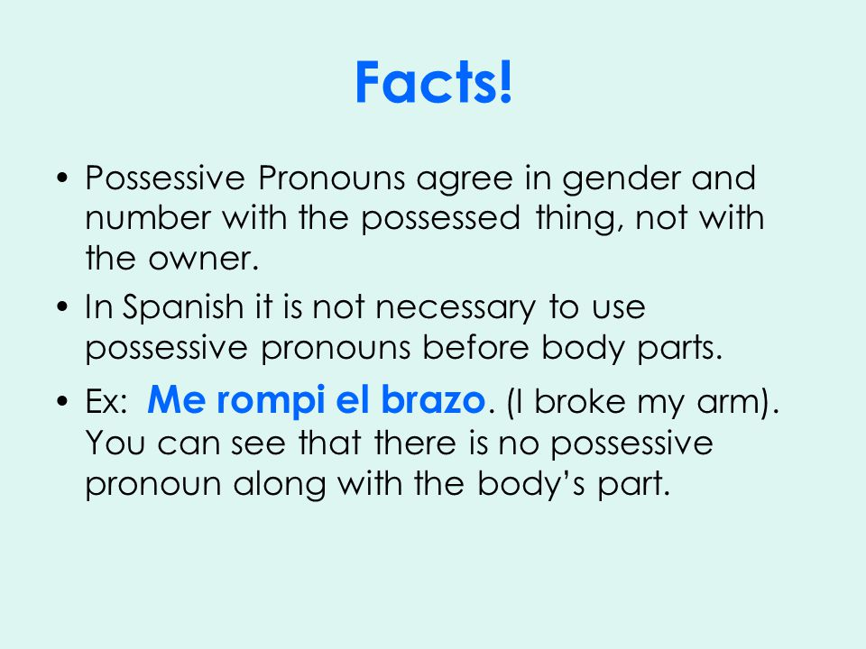Facts. Possessive Pronouns agree in gender and number with the possessed thing, not with the owner.