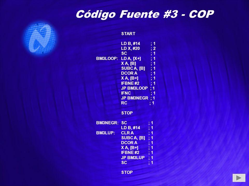 Código Fuente #3 - COP START LD B, #14 ; 1 LD X, #20 ; 2 SC ; 1 BM3LOOP: LD A, [X+] ; 1 X A, [B] ; 1 SUBC A, [B] ; 1 DCOR A ; 1 X A, [B+] ; 1 IFBNE #2