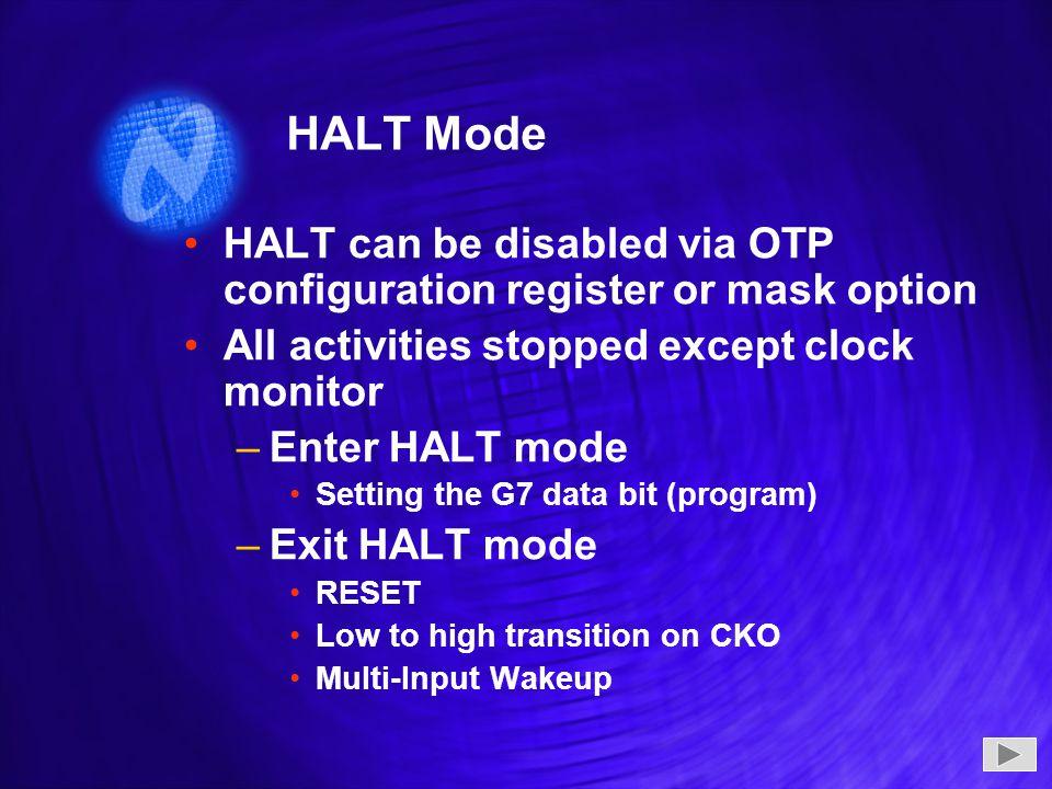 HALT Mode HALT can be disabled via OTP configuration register or mask option All activities stopped except clock monitor –Enter HALT mode Setting the