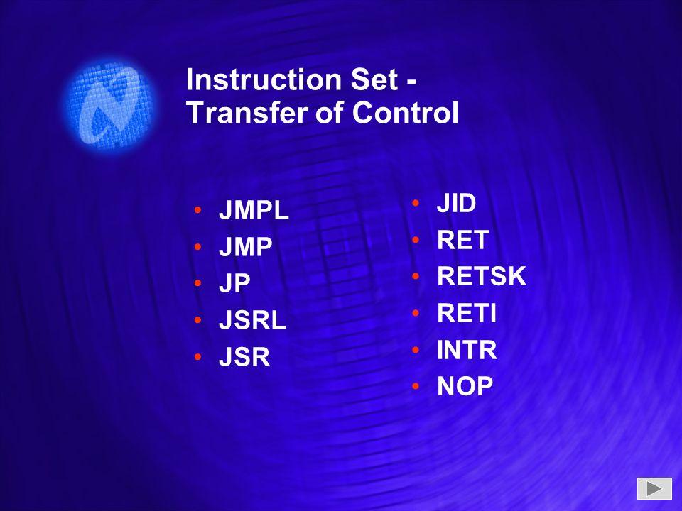 Instruction Set - Transfer of Control JMPL JMP JP JSRL JSR JMPL JMP JP JSRL JSR JID RET RETSK RETI INTR NOP