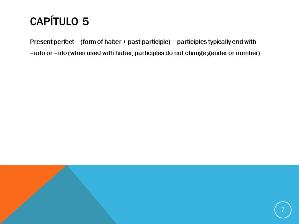 CAPÍTULO 6 Future tense: add endings to whole infinitive; all endings are accented except nosotros 8