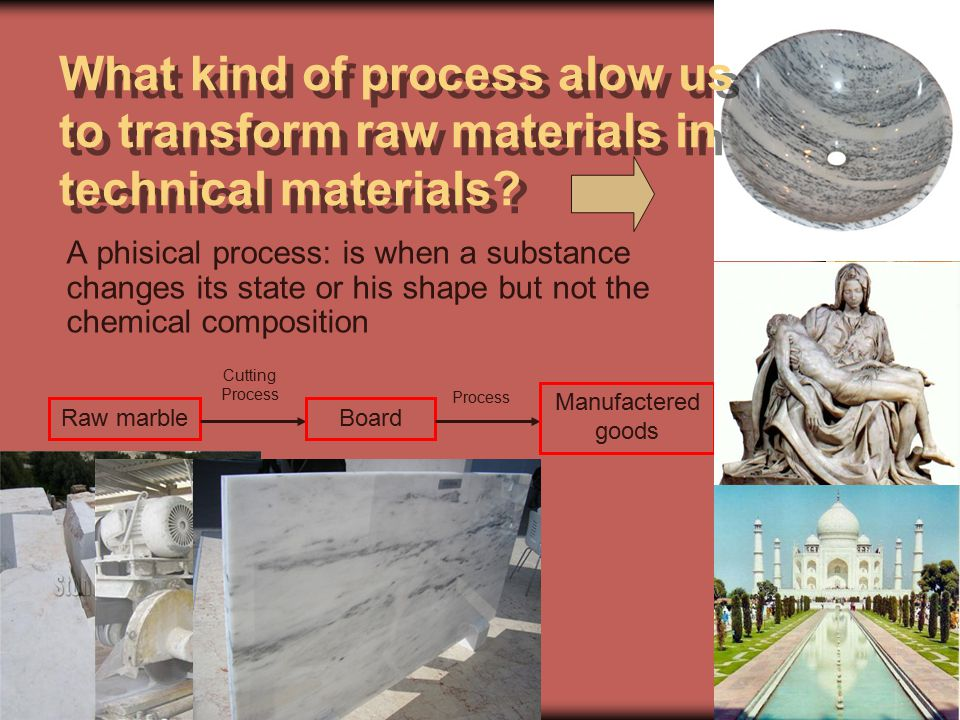 Octavio Sáez. Murcia. Pale 2011 What kind of process alow us to transform raw materials in technical materials? A phisical process: is when a substanc