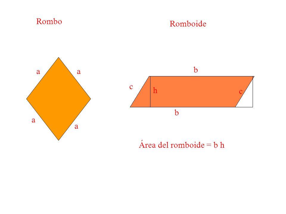 Rombo Romboide a a aa b b c c h Área del romboide = b h