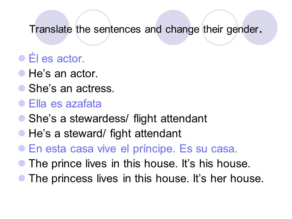 Translate the sentences and change their gender. Él es actor.