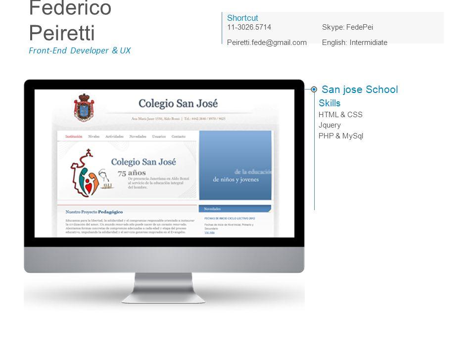 Federico Peiretti Front-End Developer & UX Shortcut 11-3026.5714Skype: FedePei Peiretti.fede@gmail.com English: Intermidiate San jose School Skills HTML & CSS Jquery PHP & MySql
