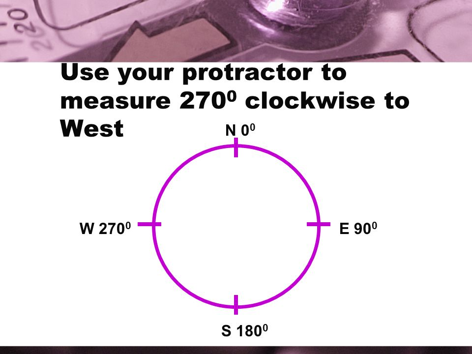 Use your protractor to measure 270 0 clockwise to West N 0 0 E 90 0 S 180 0 W 270 0