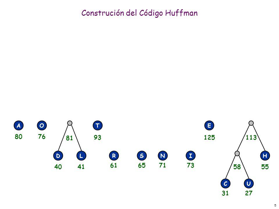 5 Construción del Código Huffman RSNI E H CU 58 113 DL 81 AOT 3127 55 71736165 125 4041 93 8076