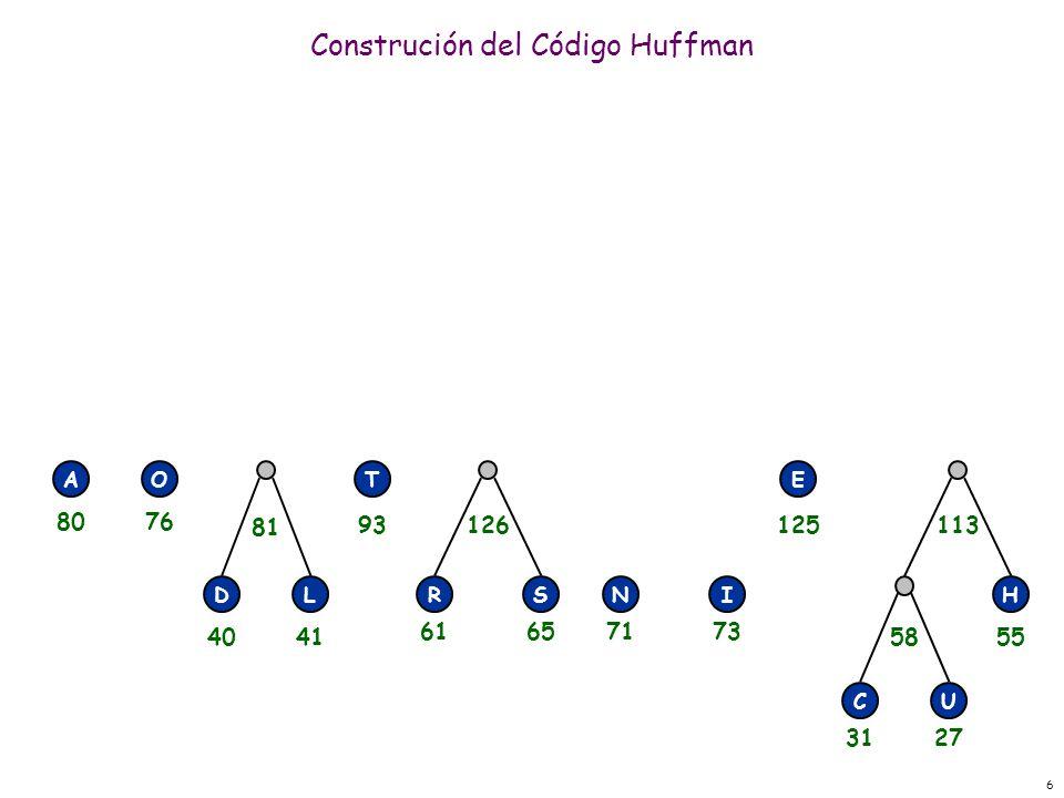 6 Construción del Código Huffman RSNI E H CU 58 113126 DL 81 AOT 3127 55 71736165 125 4041 93 8076