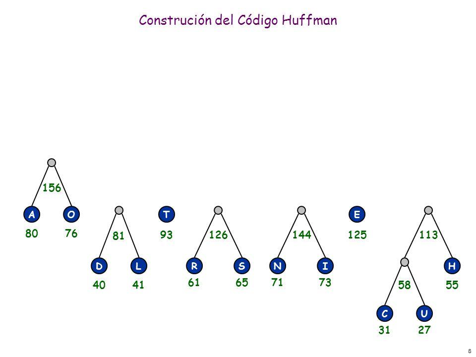 8 Construción del Código Huffman RSNI E H CU 58 113144126 DL 81 156 AOT 3127 55 71736165 125 4041 93 8076