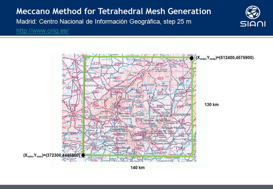 Madrid: Centro Nacional de Información Geográfica, step 25 m http://www.cnig.es/ Meccano Method for Tetrahedral Mesh Generation (X min,Y min )=(372300,4446800) (X max,Y max )=(512400,4575900) 140 km 130 km