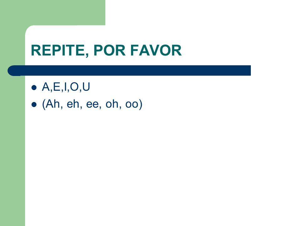 REPITE, POR FAVOR A,E,I,O,U (Ah, eh, ee, oh, oo)