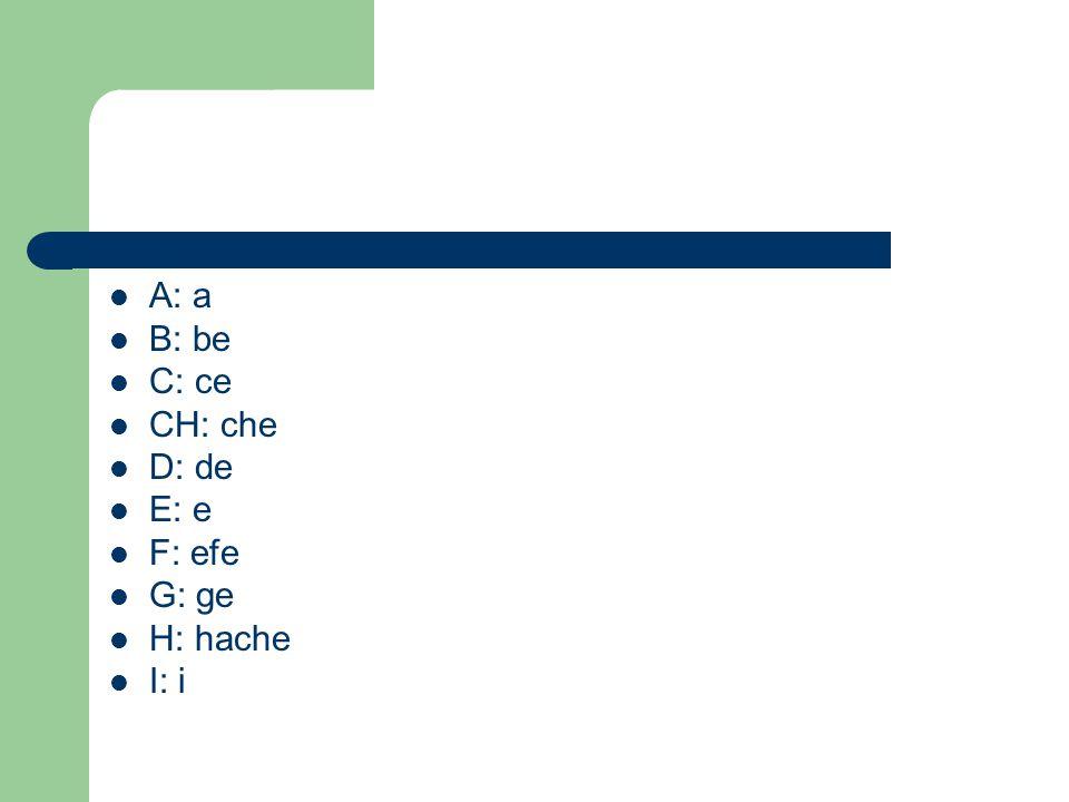 A: a B: be C: ce CH: che D: de E: e F: efe G: ge H: hache I: i
