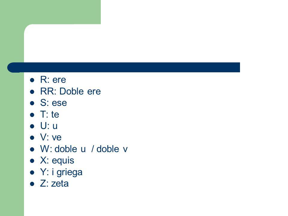 R: ere RR: Doble ere S: ese T: te U: u V: ve W: doble u / doble v X: equis Y: i griega Z: zeta