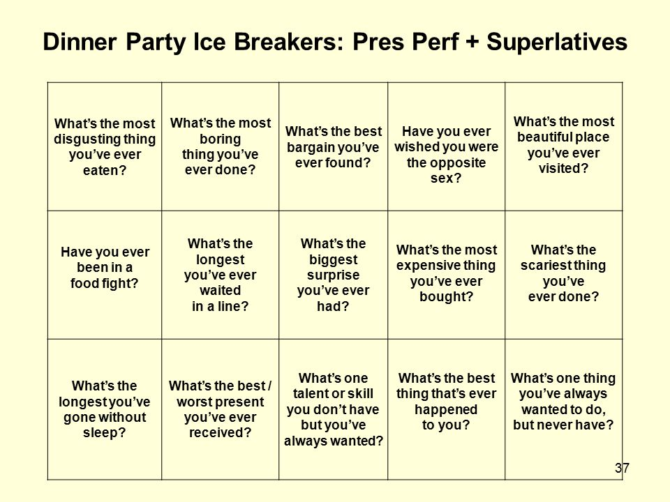 37 Dinner Party Ice Breakers: Pres Perf + Superlatives What's the most disgusting thing you've ever eaten? What's the most boring thing you've ever do