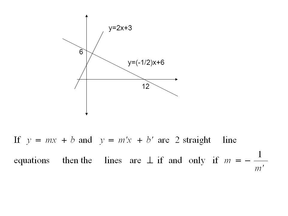 y=(-1/2)x+6 12 6 y=2x+3
