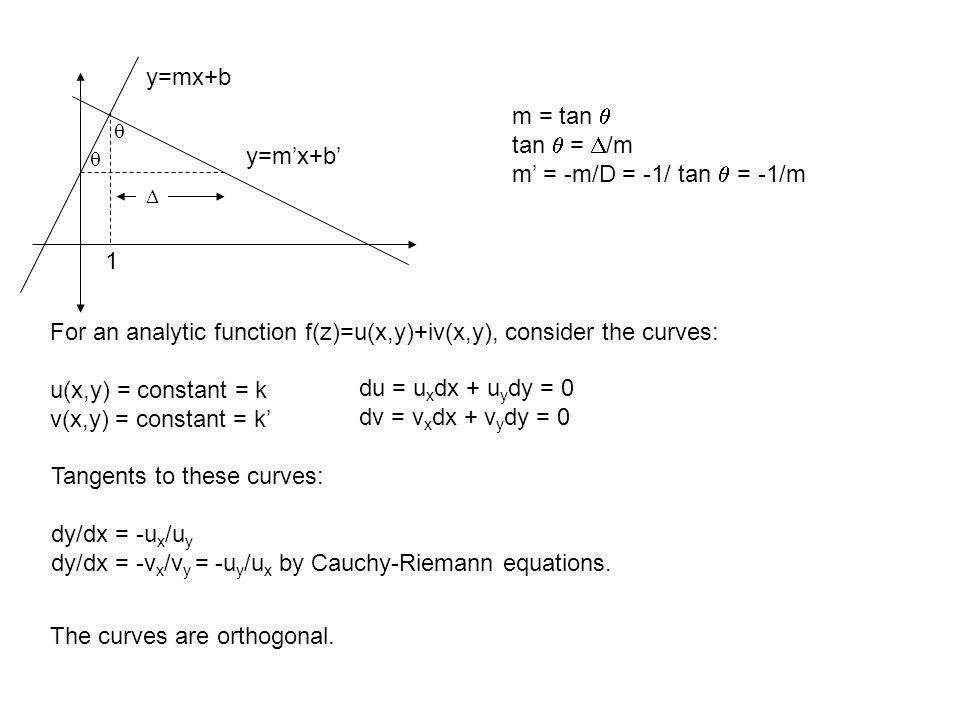 y=m'x+b' y=mx+b 1    m = tan  tan  =  /m m' = -m/D = -1/ tan  = -1/m For an analytic function f(z)=u(x,y)+iv(x,y), consider the curves: u(x,y) = constant = k v(x,y) = constant = k' Tangents to these curves: dy/dx = -u x /u y dy/dx = -v x /v y = -u y /u x by Cauchy-Riemann equations.