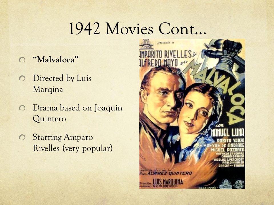 1942 Movies Cont… Malvaloca Directed by Luis Marqina Drama based on Joaquin Quintero Starring Amparo Rivelles (very popular)