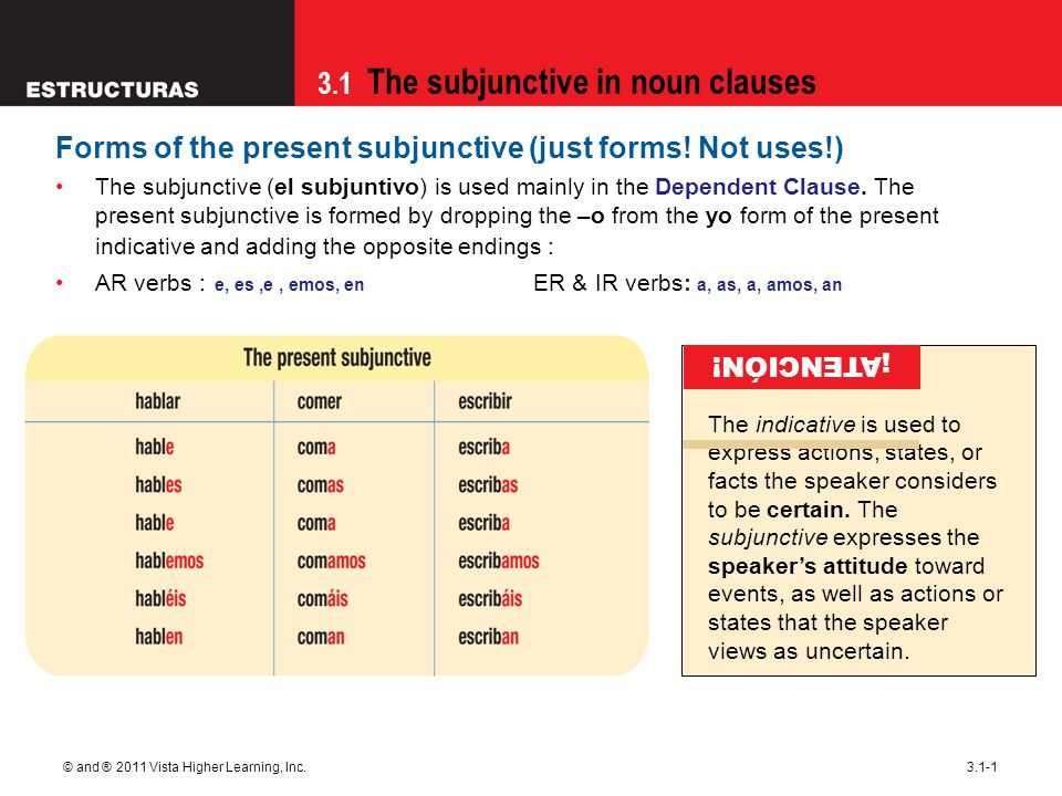 3.1 The subjunctive in noun clauses © and ® 2011 Vista Higher Learning, Inc.3.1-2 Verbs with irregular yo forms show that same irregularity in all forms of the present subjunctive.
