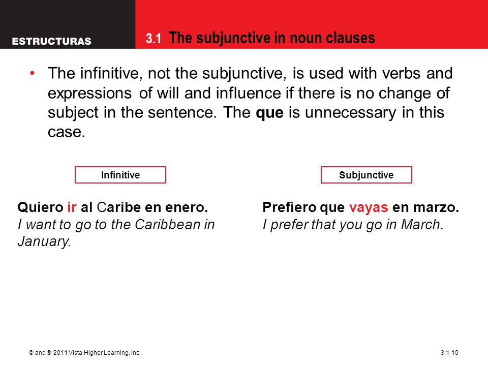 3.1 The subjunctive in noun clauses © and ® 2011 Vista Higher Learning, Inc.3.1-10 The infinitive, not the subjunctive, is used with verbs and expressions of will and influence if there is no change of subject in the sentence.