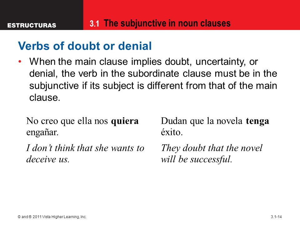 3.1 The subjunctive in noun clauses © and ® 2011 Vista Higher Learning, Inc.3.1-14 Verbs of doubt or denial When the main clause implies doubt, uncert