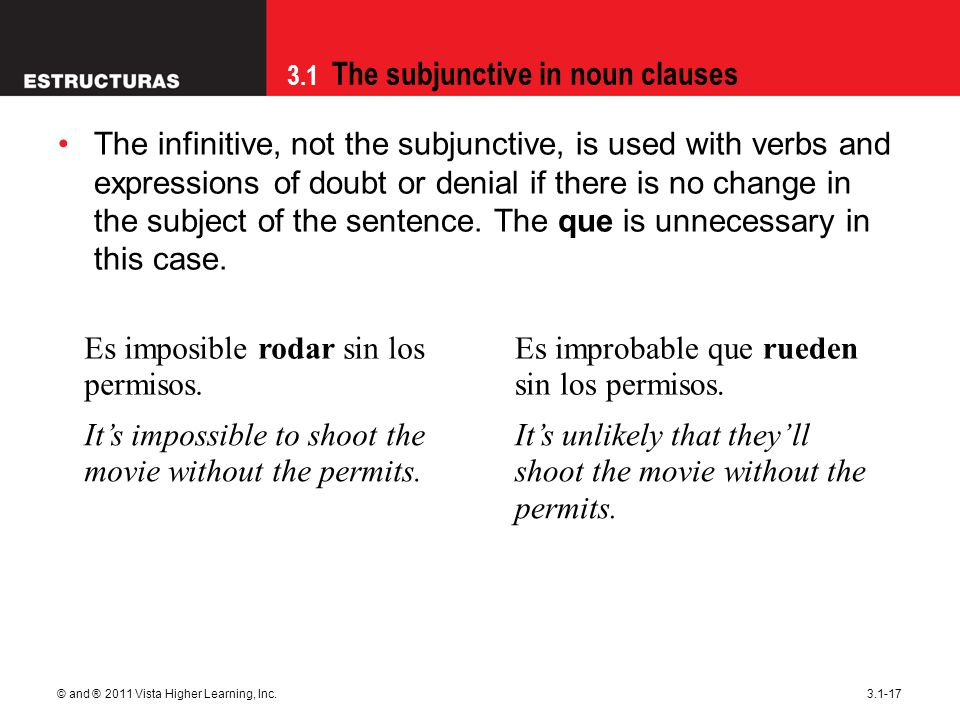 3.1 The subjunctive in noun clauses © and ® 2011 Vista Higher Learning, Inc.3.1-17 The infinitive, not the subjunctive, is used with verbs and expressions of doubt or denial if there is no change in the subject of the sentence.