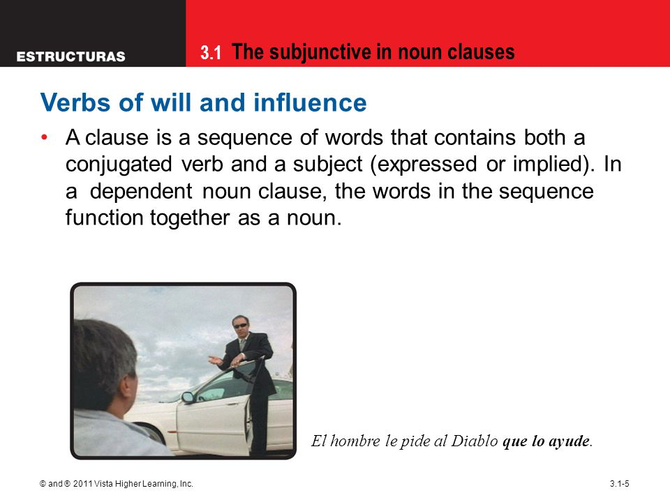 3.1 The subjunctive in noun clauses © and ® 2011 Vista Higher Learning, Inc.3.1-16 The expression ojalá (I hope; I wish) is always followed by the subjunctive.