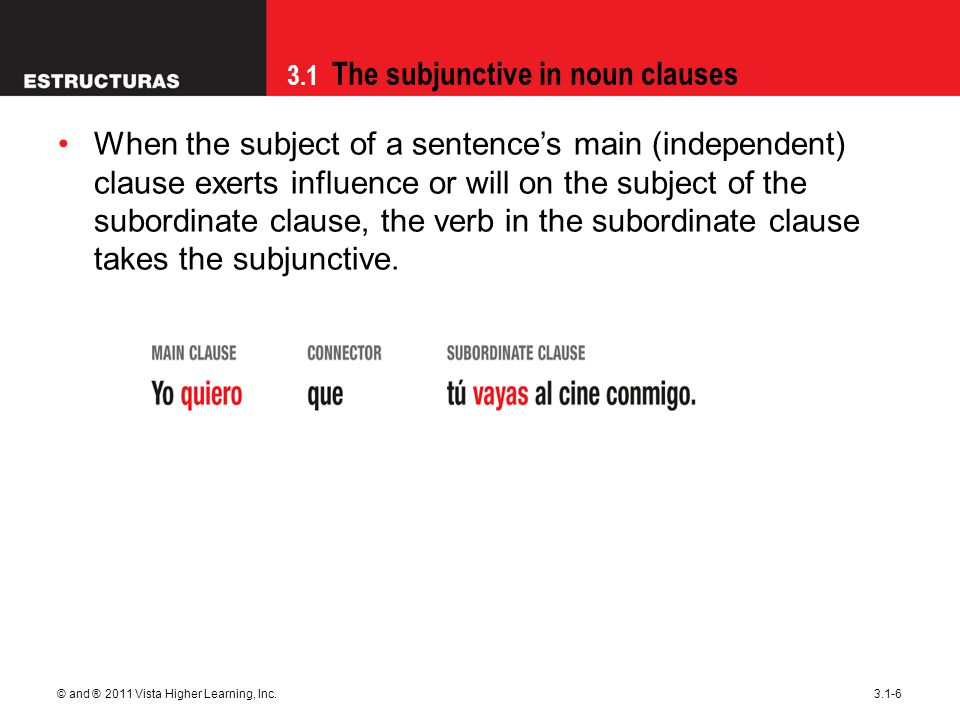 3.1 The subjunctive in noun clauses © and ® 2011 Vista Higher Learning, Inc.3.1-6 When the subject of a sentence's main (independent) clause exerts in