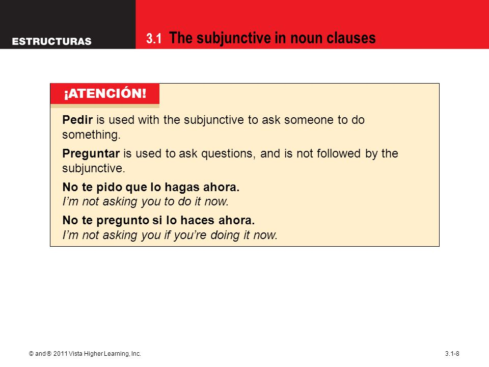 3.1 The subjunctive in noun clauses © and ® 2011 Vista Higher Learning, Inc.3.1-8 Pedir is used with the subjunctive to ask someone to do something.
