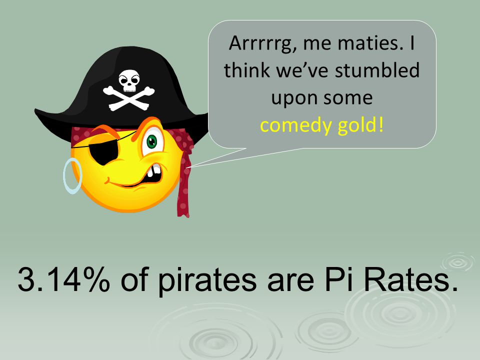 3.14% of pirates are Pi Rates. Arrrrrg, me maties. I think we've stumbled upon some comedy gold!