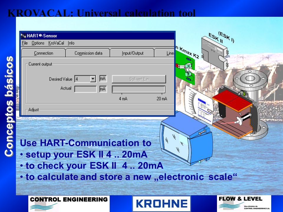 Conceptos básicos KROVACAL: Universal calculation tool Use HART-Communication to setup your ESK II 4.. 20mA to check your ESK II 4.. 20mA to calculate