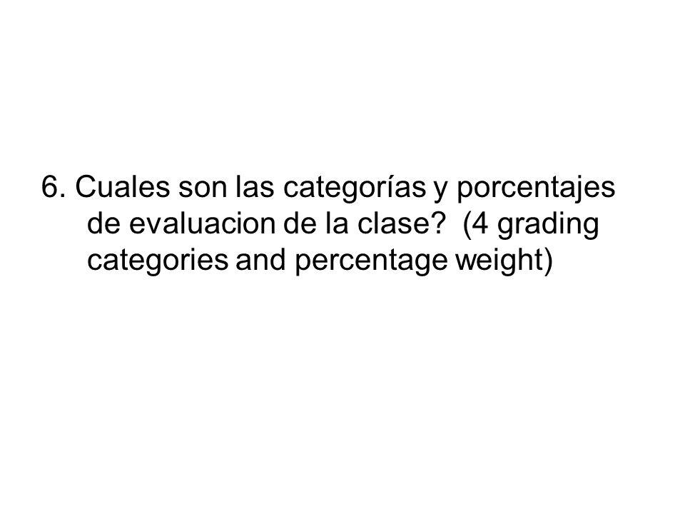 6. Cuales son las categorías y porcentajes de evaluacion de la clase? (4 grading categories and percentage weight)