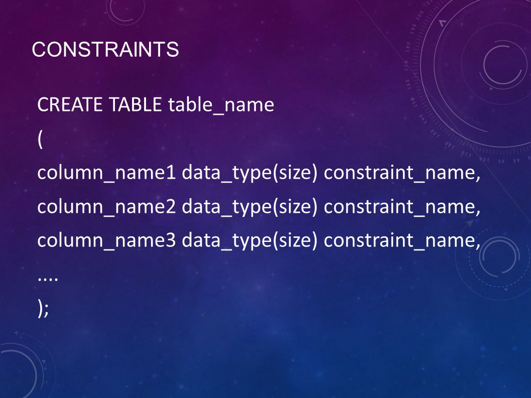 CONSTRAINTS CREATE TABLE table_name ( column_name1 data_type(size) constraint_name, column_name2 data_type(size) constraint_name, column_name3 data_ty