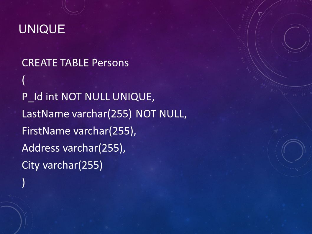 UNIQUE CREATE TABLE Persons ( P_Id int NOT NULL UNIQUE, LastName varchar(255) NOT NULL, FirstName varchar(255), Address varchar(255), City varchar(255