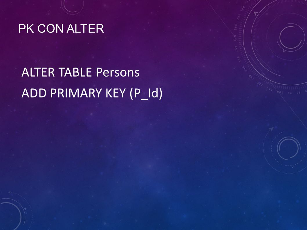 PK CON ALTER ALTER TABLE Persons ADD PRIMARY KEY (P_Id)