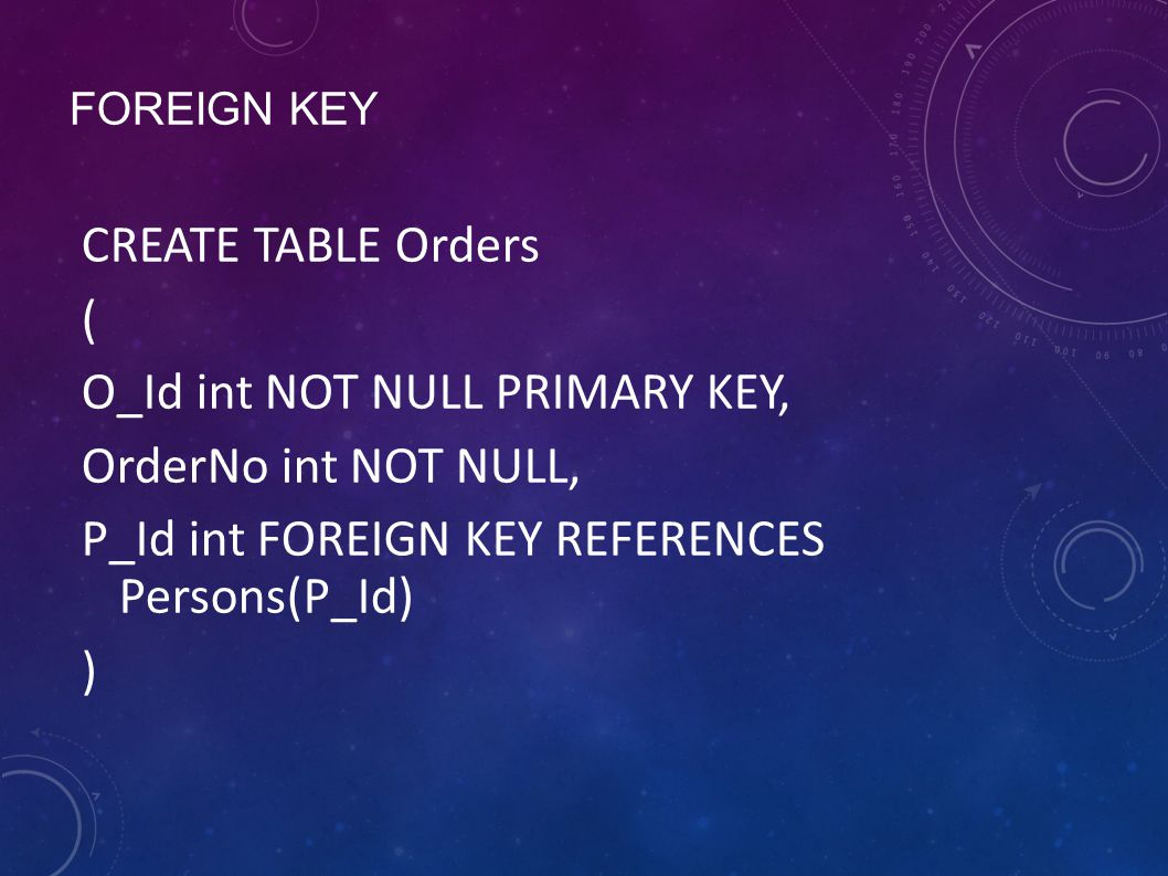 FOREIGN KEY CREATE TABLE Orders ( O_Id int NOT NULL PRIMARY KEY, OrderNo int NOT NULL, P_Id int FOREIGN KEY REFERENCES Persons(P_Id) )