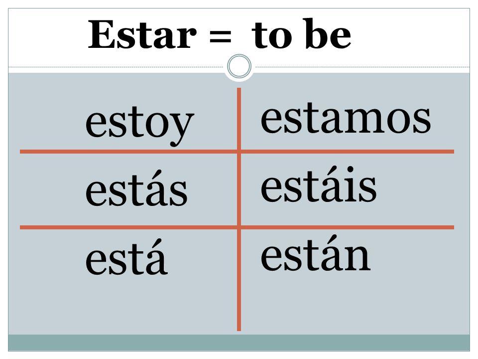 Estar = estoy estás está estamos estáis están to be