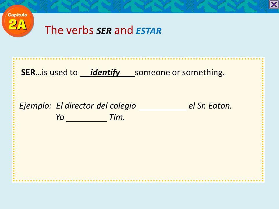 SER…is used to identify someone or something. Ejemplo: El director del colegio el Sr.