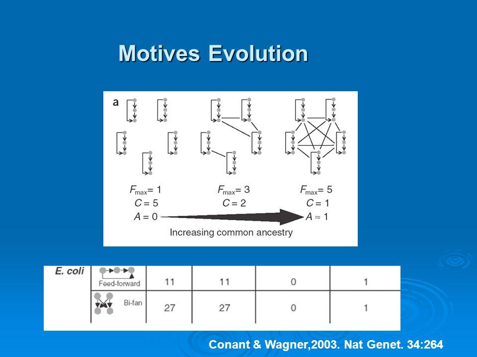Motives Evolution Conant & Wagner,2003. Nat Genet. 34:264