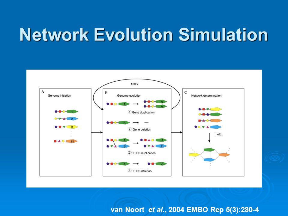 Network Evolution Simulation van Noort et al., 2004 EMBO Rep 5(3):280-4
