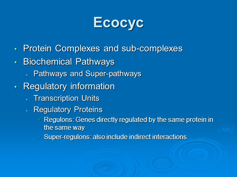 Ecocyc Protein Complexes and sub-complexes Protein Complexes and sub-complexes Biochemical Pathways Biochemical Pathways Pathways and Super-pathways Pathways and Super-pathways Regulatory information Regulatory information Transcription Units Transcription Units Regulatory Proteins Regulatory Proteins Regulons: Genes directly regulated by the same protein in the same way Regulons: Genes directly regulated by the same protein in the same way Super-regulons: also include indirect interactions Super-regulons: also include indirect interactions