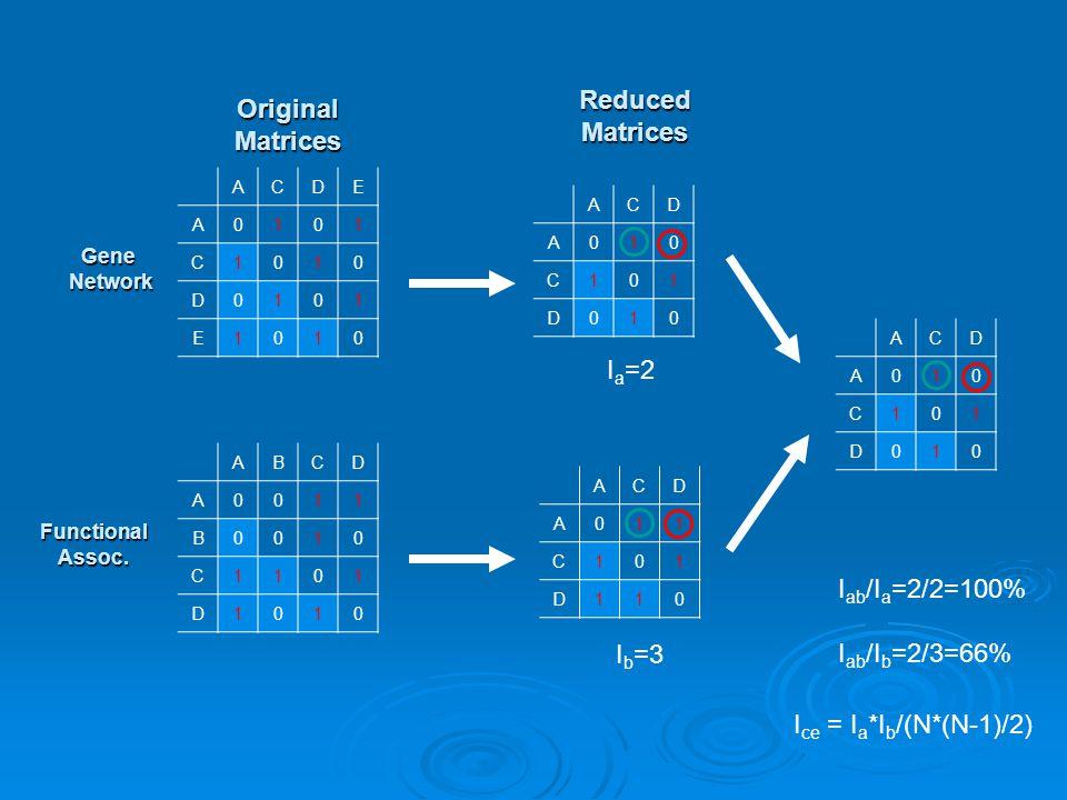 ACDE A0101 C1010 D0101 E1010 ABCD A0011 B0010 C1101 D1010 ACD A010 C101 D010 ACD A011 C101 D110 ACD A010 C101 D010 OriginalMatrices ReducedMatrices I a =2 I b =3 I ab /I a =2/2=100% I ab /I b =2/3=66% Gene Network Network Functional Assoc.