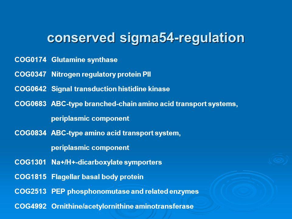 conserved sigma54-regulation COG0174 Glutamine synthase COG0347 Nitrogen regulatory protein PII COG0642 Signal transduction histidine kinase COG0683 A