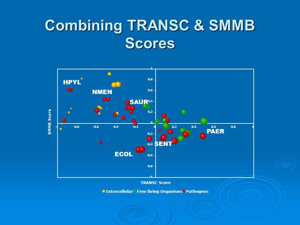 Combining TRANSC & SMMB Scores 0,4 0,6 0,8 1 -0,8-0,6-0,4-0,200,20,40,60,81 TRANSC Score SMMB Score IntracellularFree living OrganismsPathogens ECOL SENT PAER HPYL NMEN SAUR