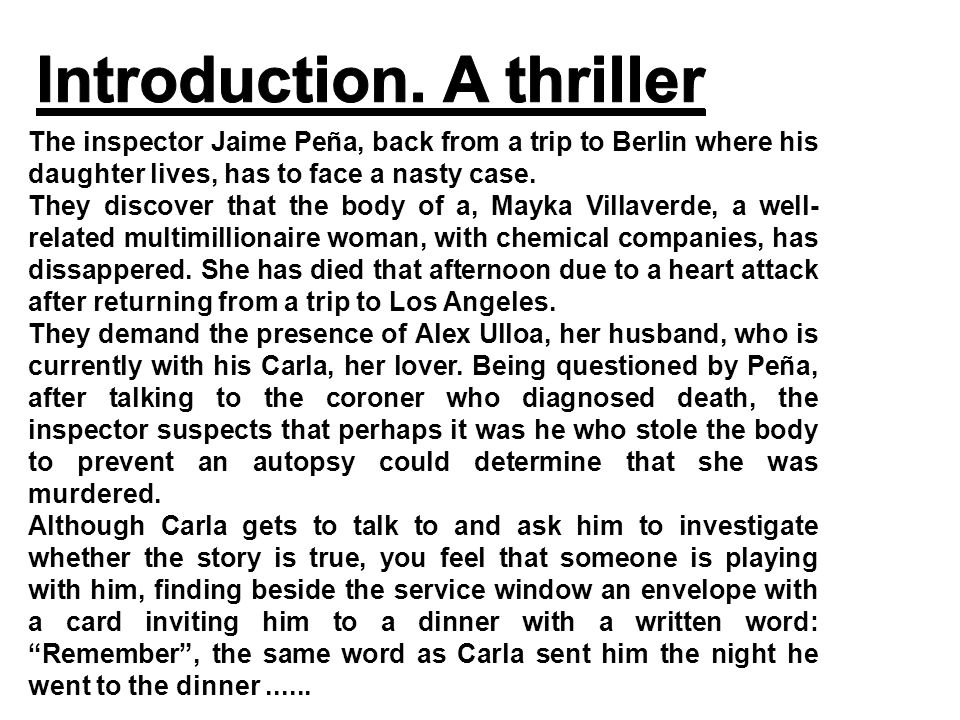 The inspector Jaime Peña, back from a trip to Berlin where his daughter lives, has to face a nasty case.
