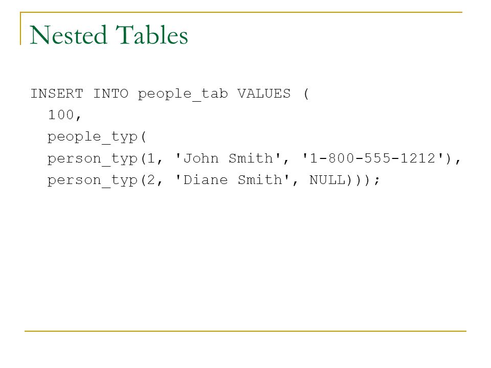 Nested Tables INSERT INTO people_tab VALUES ( 100, people_typ( person_typ(1, John Smith , 1-800-555-1212 ), person_typ(2, Diane Smith , NULL)));