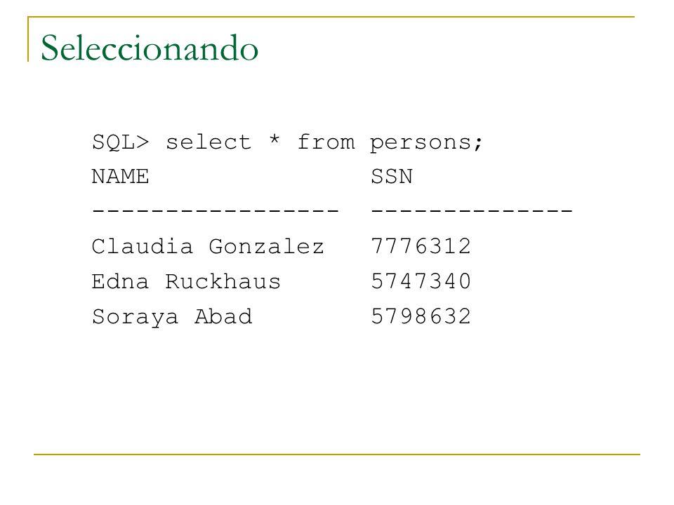 Seleccionando SQL> select * from persons; NAME SSN ----------------- -------------- Claudia Gonzalez 7776312 Edna Ruckhaus 5747340 Soraya Abad 5798632